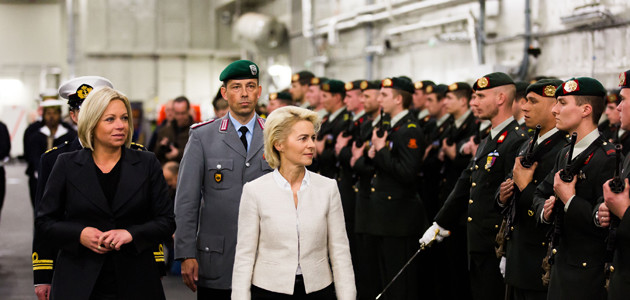 Together with her Dutch counterpart Jeanine Hennis-Plasschaert, Ursula von der Leyen, German Minister of Defence, inspects a row of Navy soldiers on a ship